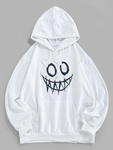ZAFUL Leuchtende Karikaturdruck Känguru Taschen Hoodie - Weiß M Mobile