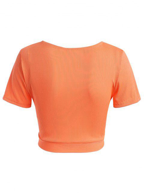 ZAFUL Haut de Maillot de Bain Côtelé Noué de Grande Taille avec Trou de Serrure - Orange Foncé XL Mobile