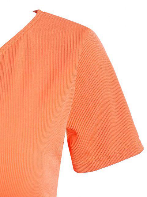 ZAFUL Haut de Maillot de Bain Côtelé Noué de Grande Taille avec Trou de Serrure - Orange Foncé XXXL Mobile