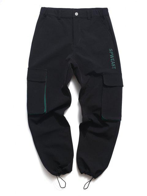 Pantalones de Carga con Bordado de Letras de Toallas - Negro L Mobile