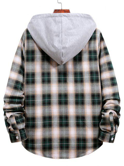 buy Plaid Pattern Colorblock Panel Hooded Shirt - DARK FOREST GREEN L Mobile