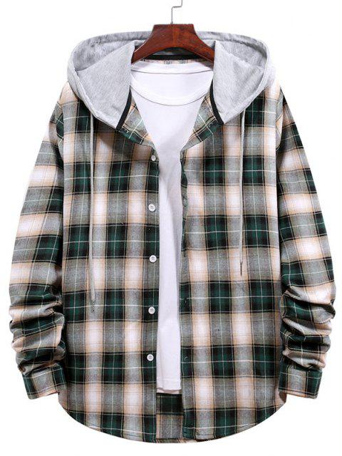 women's Plaid Pattern Colorblock Panel Hooded Shirt - DARK FOREST GREEN XL Mobile