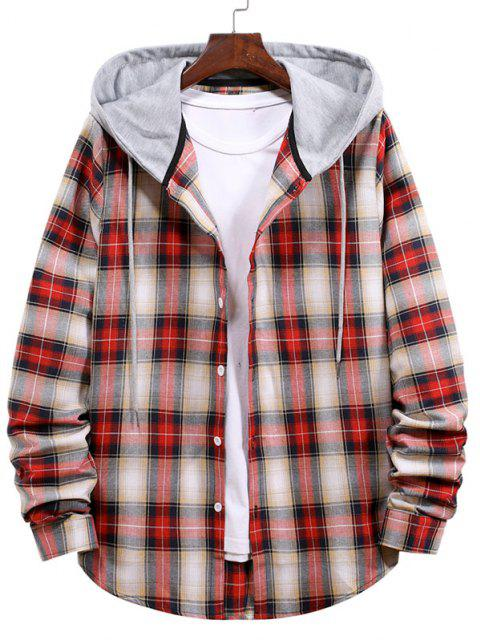womens Plaid Pattern Colorblock Panel Hooded Shirt - LAVA RED 2XL Mobile