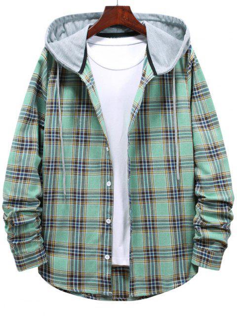 fancy Button Up Hooded Plaid Print Shirt - LIGHT GREEN 2XL Mobile