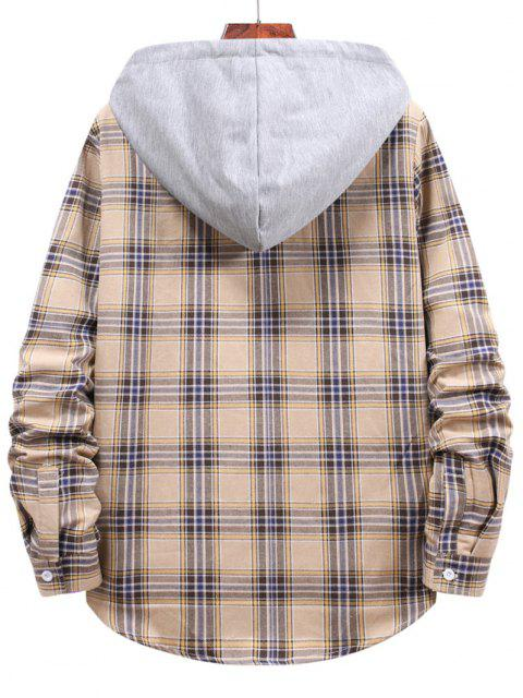 buy Button Up Hooded Plaid Print Shirt - GOLDENROD XL Mobile