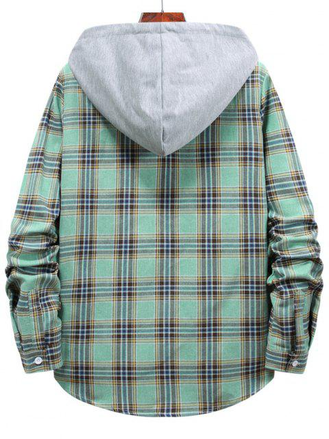 womens Button Up Hooded Plaid Print Shirt - LIGHT GREEN L Mobile