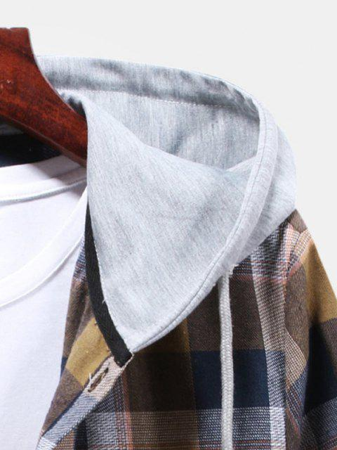 women Striped and Plaid Pattern Hooded Button Up Shirt - CAMEL BROWN M Mobile