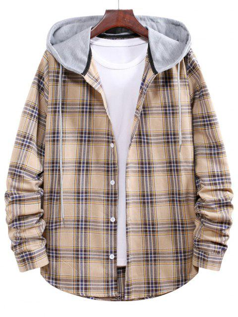 best Button Up Hooded Plaid Print Shirt - GOLDENROD L Mobile