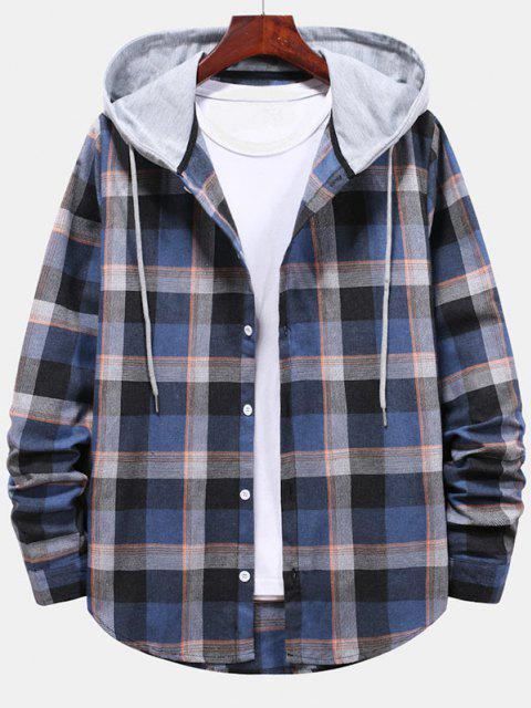 unique Striped and Plaid Pattern Hooded Button Up Shirt - BLUEBERRY BLUE M Mobile