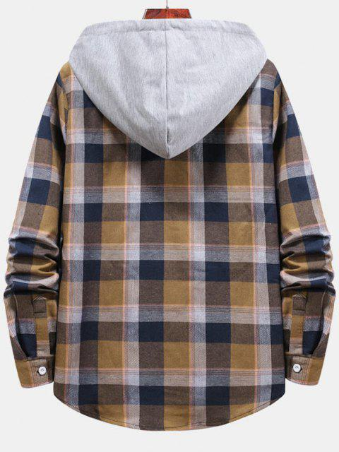 affordable Striped and Plaid Pattern Hooded Button Up Shirt - CAMEL BROWN XL Mobile