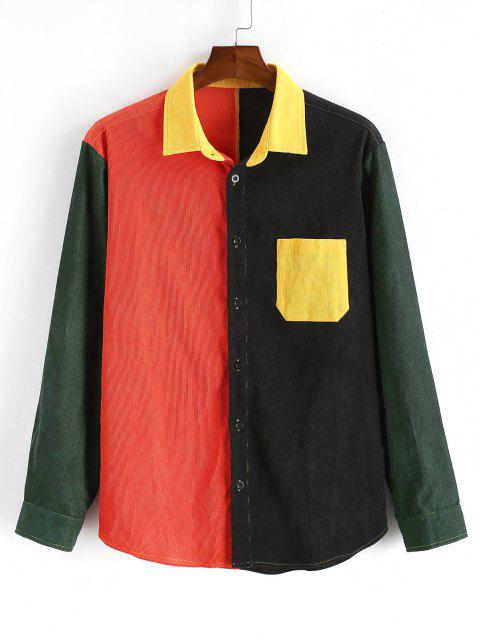 fancy Contrast Pocket Corduroy Shirt - RED 2XL Mobile