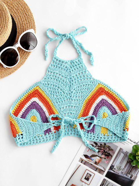 womens Halter Striped Crochet Tie Beach Top - LIGHT BLUE ONE SIZE Mobile