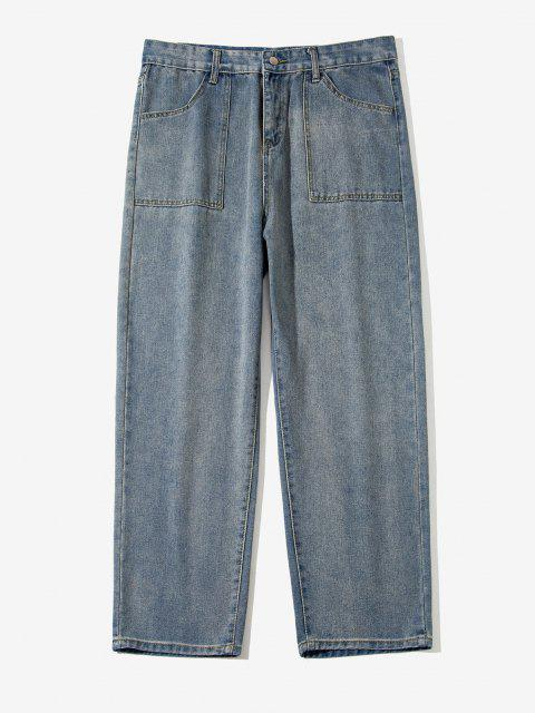 affordable Zipper Fly Straight Leg Casual Jeans - BLUE GRAY M Mobile