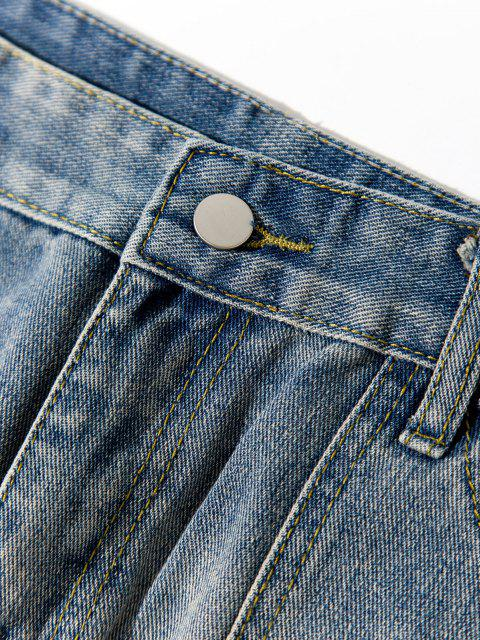 women's Zipper Fly Straight Leg Casual Jeans - BLUE GRAY XS Mobile