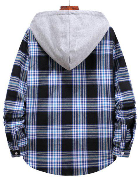 chic Checkered Stripe Pattern Drawstring Hooded Shirt - MIDNIGHT BLUE 2XL Mobile