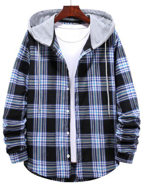 fancy Checkered Stripe Pattern Drawstring Hooded Shirt - MIDNIGHT BLUE M Mobile