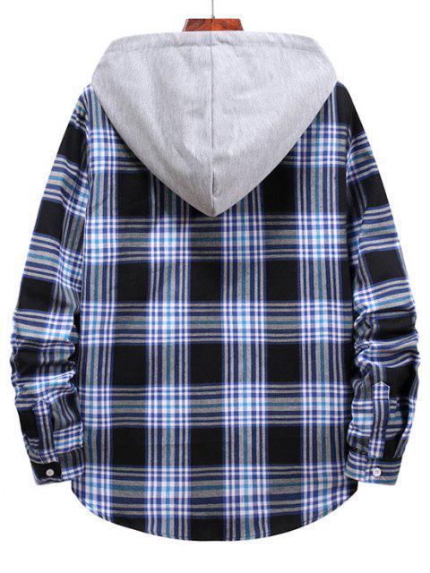 shops Checkered Stripe Pattern Drawstring Hooded Shirt - MIDNIGHT BLUE XL Mobile