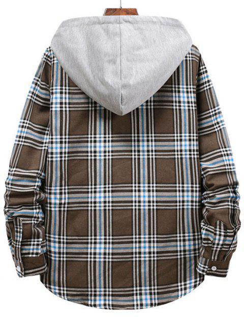 fancy Checkered Stripe Pattern Drawstring Hooded Shirt - BROWN BEAR M Mobile
