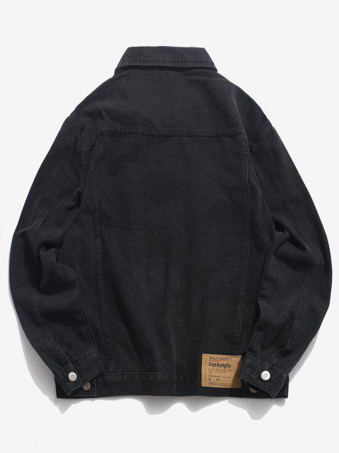 Veste Boutonnée en Denim avec Poches - Noir 4XL Mobile