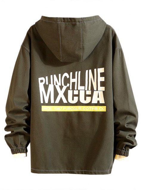 latest Pouch Pocket Drop Shoulder Pullover Hooded Jacket - CAMOUFLAGE GREEN L Mobile