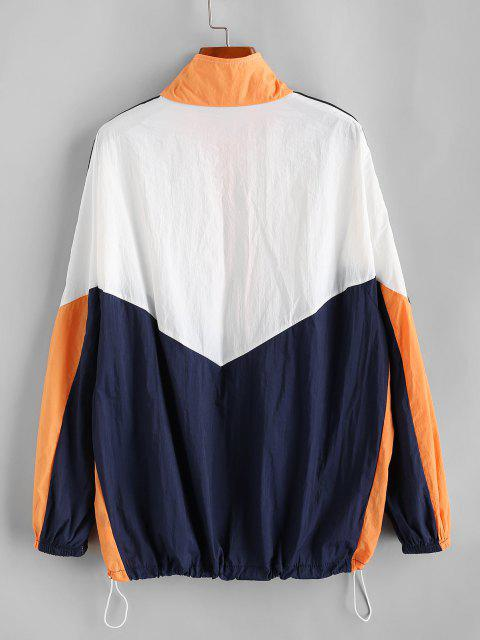 chic Color Blocking Patched Drawstring Windbreaker Jacket - ORANGE ONE SIZE Mobile