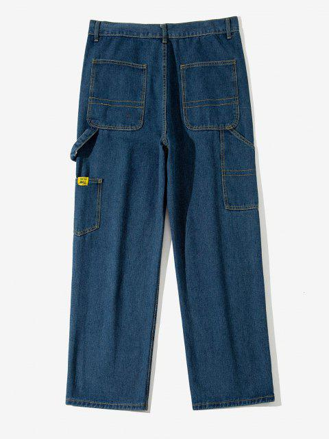 latest Letter Applique Straight Leg Carpenter Jeans - LAPIS BLUE S Mobile
