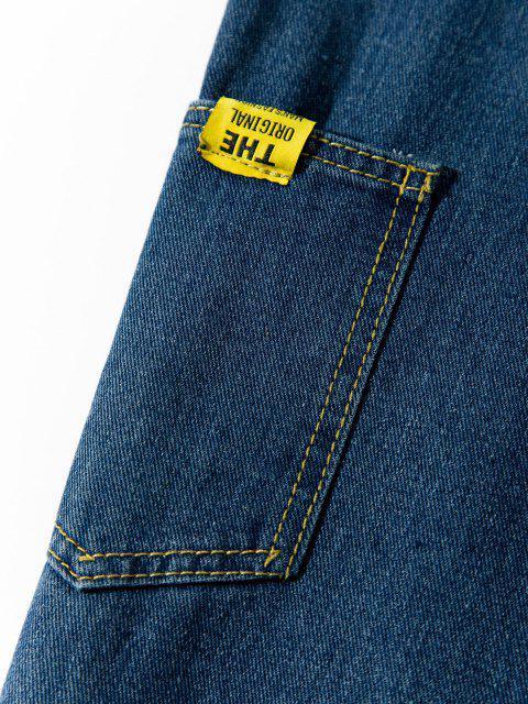 womens Letter Applique Straight Leg Carpenter Jeans - LAPIS BLUE XS Mobile