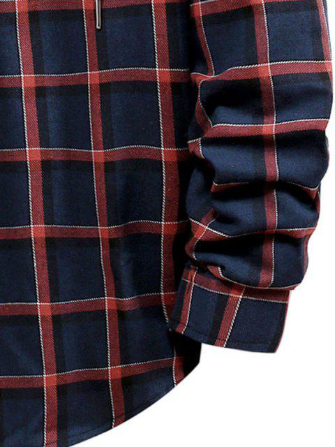 buy Long Sleeve Plaid Pattern Hooded Shirt - LAVA RED S Mobile