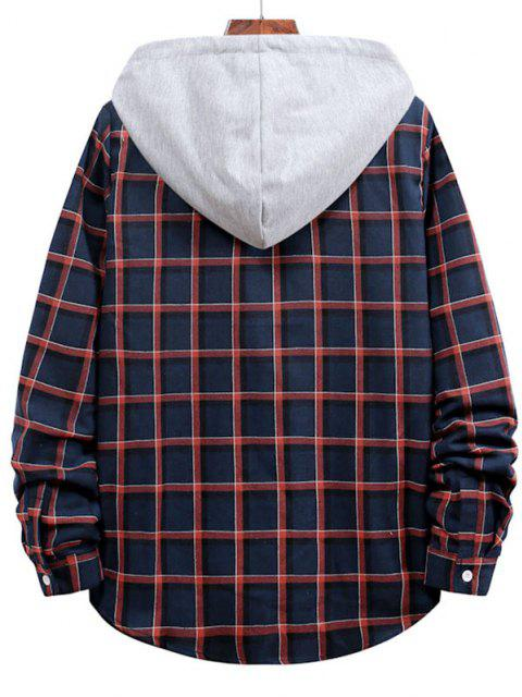 fancy Long Sleeve Plaid Pattern Hooded Shirt - LAVA RED XL Mobile