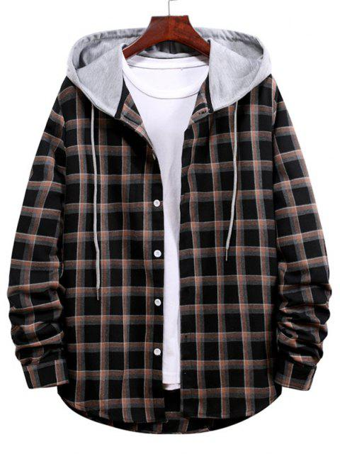 lady Long Sleeve Plaid Pattern Hooded Shirt - BLACK 2XL Mobile