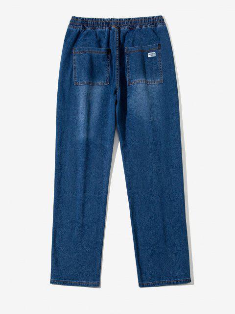 ladies Drawstring Light Wash Tapered Jeans - LAPIS BLUE L Mobile