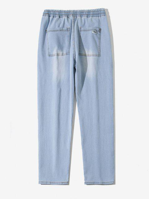 buy Drawstring Light Wash Tapered Jeans - BLUE GRAY M Mobile