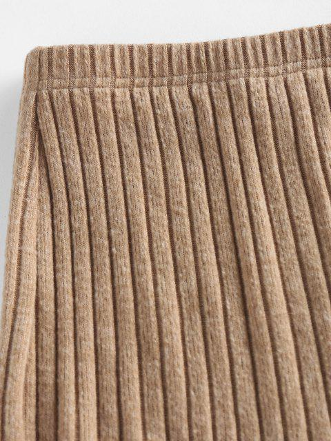women's ZAFUL Front Slit Ribbed Bodycon Skirt - CAMEL BROWN M Mobile