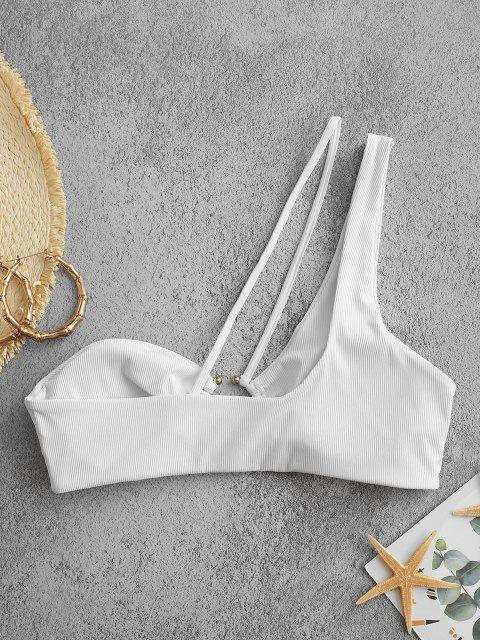 ZAFUL Ribbed Ring Linked One Shoulder Bikini Top - أبيض S Mobile
