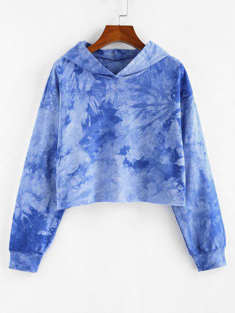 shop ZAFUL Tie Dye Drop Shoulder Raw Hem Hoodie - BLUE S Mobile