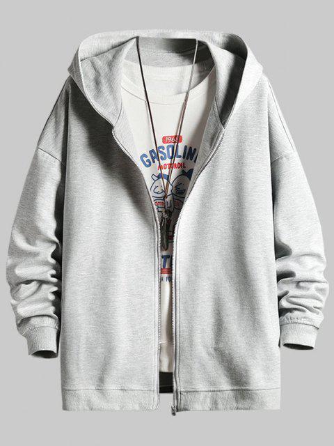 shop Cartoon Animal Print Zip Up Hoodie Jacket - PLATINUM M Mobile