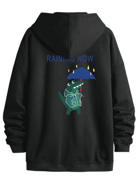 shops Cartoon Animal Print Zip Up Hoodie Jacket - BLACK XL Mobile