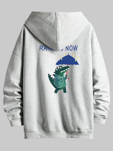 buy Cartoon Animal Print Zip Up Hoodie Jacket - PLATINUM L Mobile