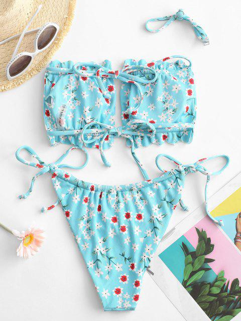 ladies ZAFUL Ribbed Floral Print Scalloped Cutout Bikini Swimwear - LIGHT BLUE S Mobile