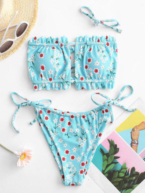 best ZAFUL Ribbed Floral Print Scalloped Cutout Bikini Swimwear - LIGHT BLUE L Mobile