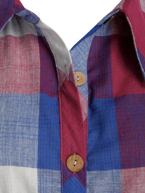chic Plus Size Plaid Roll Up Sleeve Drawstring Shirt Dress - BLUEBERRY BLUE 4X Mobile