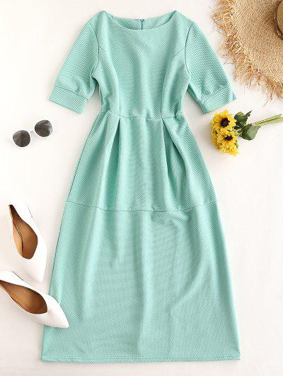High Waisted Solid Frilled Dress - Azul Claro M