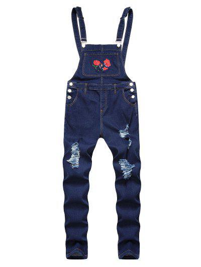 Jeans Cónicos Rasgados Con Bordado Floral - Azul Profundo 40