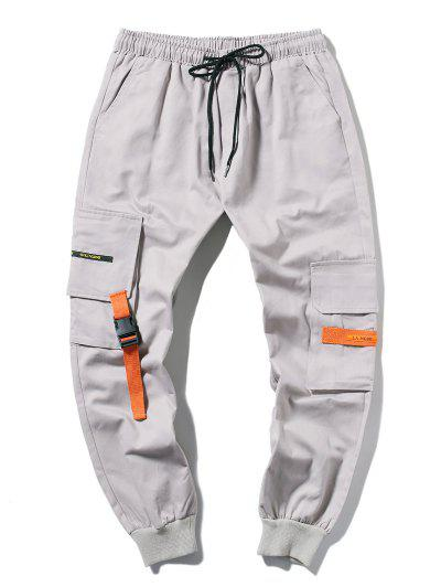 Applique Long Cargo Jogger Pants - Light Gray L