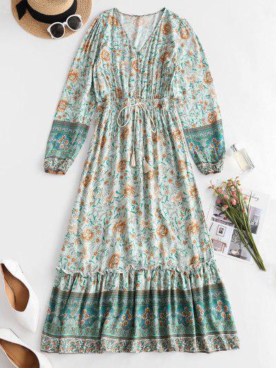 Floral Button Loop Tassels Bohemian Dress - Green M