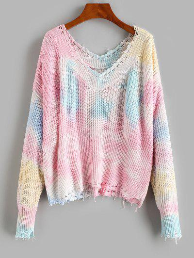 Distressed Frayed Tie Dye Oversized Sweater - Multi L