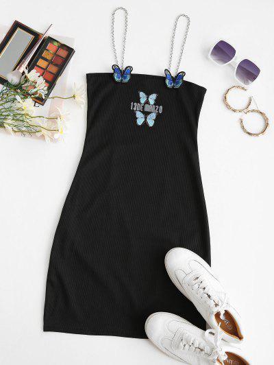 Chains Straps Butterfly Applique Mini Dress - Black