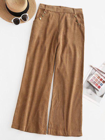 Corduroy Back Zip Sailor Pants - Coffee L