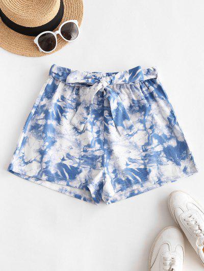Tie Dye Belted Wide Leg Shorts - Blue M