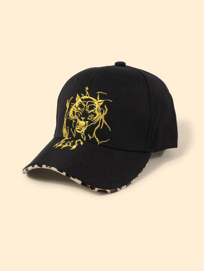 Gorra De Béisbol Con Bordado De Leopardo De Tigre - Negro